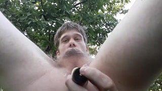 WHITE BOY JACKING OFF OUTSIDE AROUND CHERRY TREE'S
